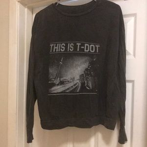 Brandy Melville long sleeve small faded grey '' This is t-dot'' shirt